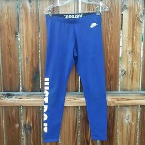 Nike blue workout leggings medium just do it logo